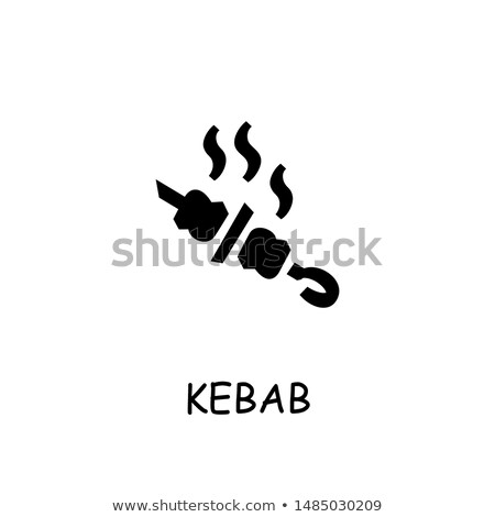 Kebab icon vector geïsoleerd witte Stockfoto © smoki