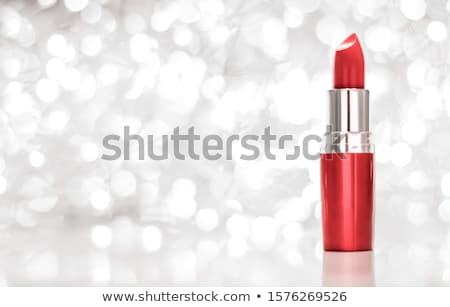 Coral lipstick on silver Christmas, New Years and Valentines Day Stock photo © Anneleven