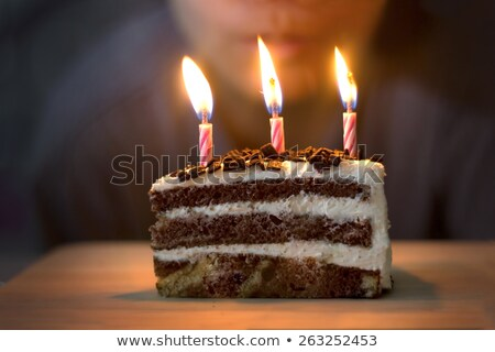 birthday cake with candles and strawberries Stock photo © dolgachov