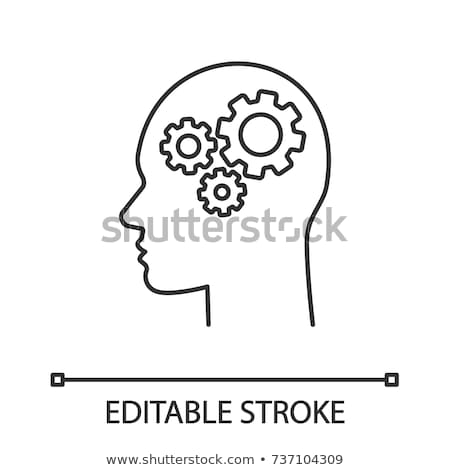 Human Brain Gear Icon Vector Outline Illustration Stock photo © pikepicture