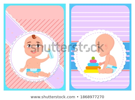 Baby Shower Newborn with Bottle, Construct Pyramid Stock photo © robuart