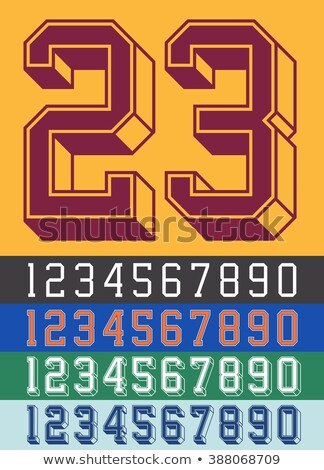 Classic old fashioned font Number 3 THREE 3D Stock photo © djmilic