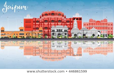 Outline Jaipur Skyline with Blue Landmarks and Reflections. Stock photo © ShustrikS