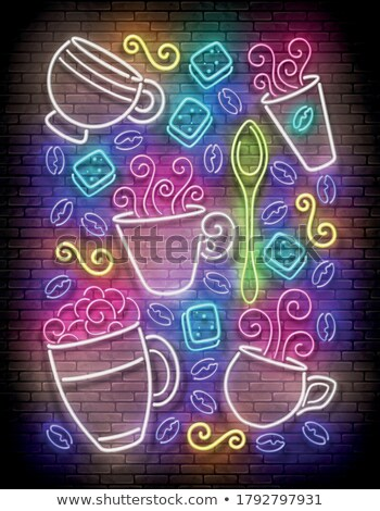 Vintage Glow Signboard with a Cups of Different Coffee Stock photo © lissantee