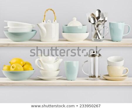 Stacked Bowls on Shelf Stock photo © frannyanne