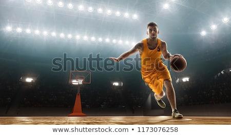 Atléta kosárlabda fiatal kint égbolt sport Stock fotó © curaphotography