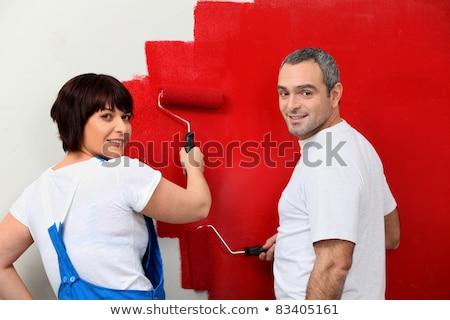 Coppia · pittura · muro · rosso · sorriso · uomo - foto d'archivio © photography33