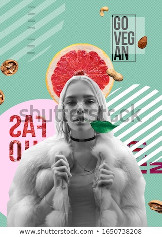 model with fur, fruit Stock photo © zastavkin