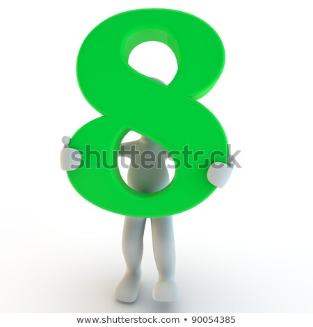 Stockfoto: Aantal · acht · 3d · render · geïsoleerd
