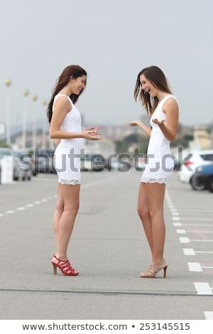 отношение Привлекательная женщина Постоянный белое платье расстраивать женщину Сток-фото © gromovataya