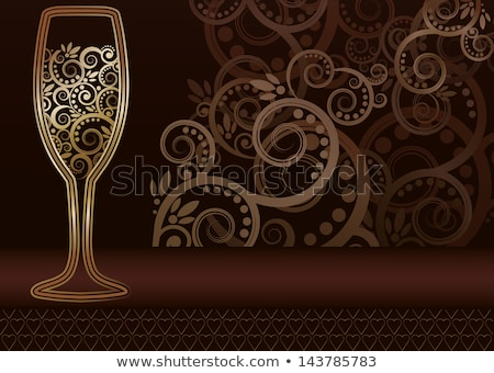 Floral golden Wine glass invitation card, vector  Stock photo © carodi