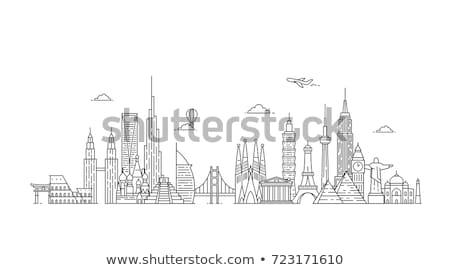 世界 スカイライン 市 デザイン 橋 黒 ストックフォト © compuinfoto