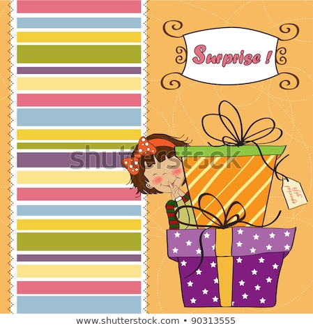 cute little girl hidden behind boxes of gifts. happy birthday gr Stock photo © balasoiu