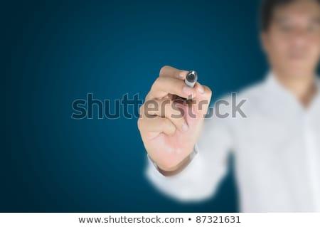 man · glas · hand · bril · achtergrond - stockfoto © iko