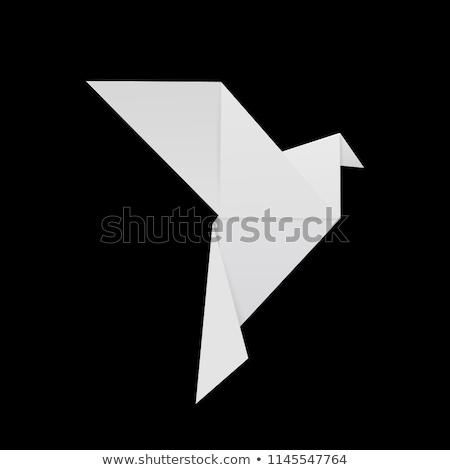 抽象的な 紙 鳥 シンボル ベクトル モノクロ ストックフォト © HypnoCreative