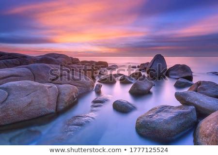 Mooie zeegezicht berg afstand shot strand Stockfoto © elwynn