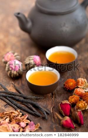 Chino estilo floral té mesa de madera Foto stock © keko64