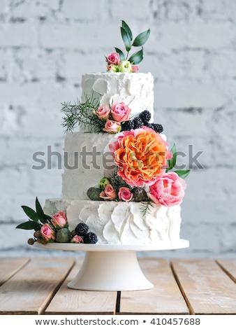 üç · düğün · pastası · şeftali · kek · beyaz - stok fotoğraf © kmwphotography