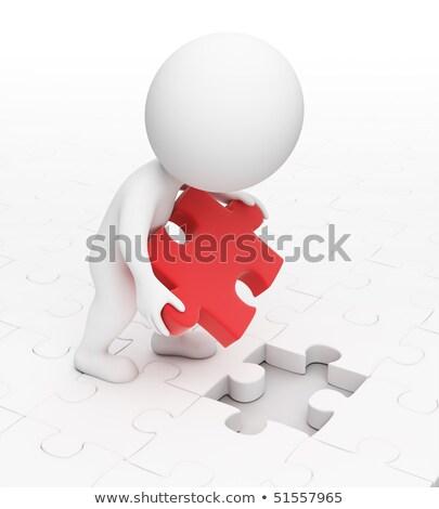 3D · oameni · albi · puzzle · legătură · roşu · bucata - imagine de stoc © anatolym