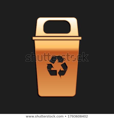 Recycle Bin golden Vector Icon Design Stock photo © rizwanali3d
