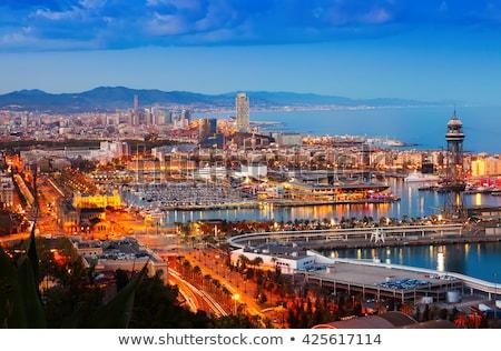 Stock fotó: Kilátás · Barcelona · kikötő · kék · mediterrán · tenger