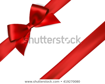 Red bow and white card for gift on  satin background Stock photo © Sandralise
