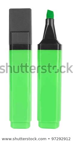 緑 蛍光ペン 孤立した 白 オフィス 紙 ストックフォト © michaklootwijk