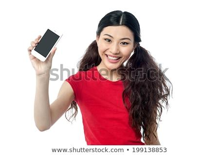 új · üzenetek · mobiltelefon · női · ujj · nyitás - stock fotó © stockyimages