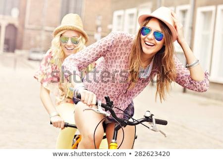 Nő lovaglás tandem bicikli portré férfi Stock fotó © deandrobot