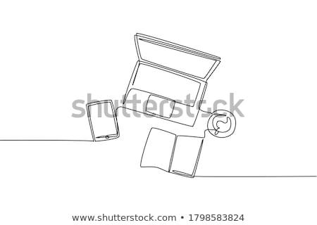 木製 · デスクトップ · 表面 · 文房具 · 白 · シート - ストックフォト © madelaide