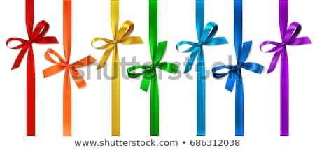 Lila ajándék szalag íj izolált fehér Stock fotó © shutswis