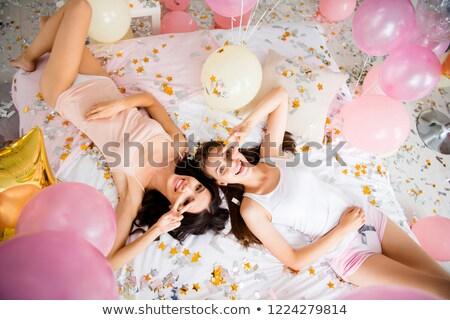 feliz · mujer · paz · signo · asia · arco · iris - foto stock © deandrobot