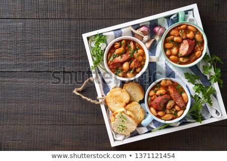 gebakken · bonen · worstjes · vlees · detail · gekookt - stockfoto © Digifoodstock