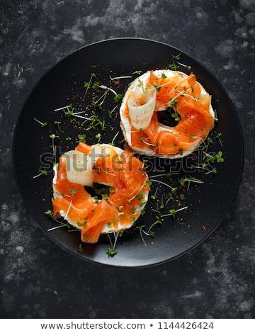 Toast ser wędzony łosoś śniadanie świeże posiłek Zdjęcia stock © M-studio