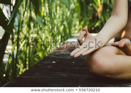 ioga · cobra · pose · mulher · grama · verde · parque - foto stock © leedsn