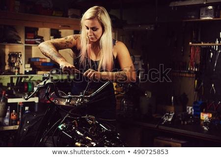 женщину · студию · портрет · красивая · женщина · прикасаться · волос - Сток-фото © amok