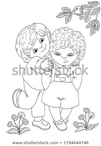 Zwei jungen Kontur Baum gezeichnet weiß Stock foto © blackmoon979