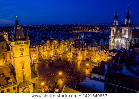 Ville carré nuit personnes lanterne longue exposition Photo stock © joyr