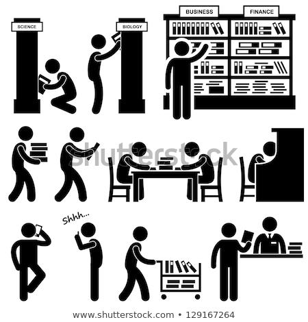 Bibliotecário trabalhando secretária ilustração livros trabalhar Foto stock © bluering