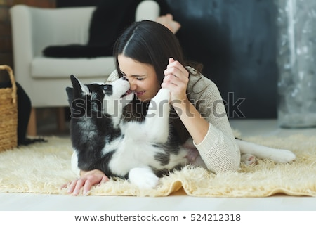 Nő husky otthon női fehér állat Stock fotó © racoolstudio