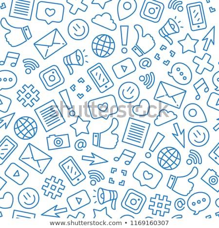 közösségi · média · színes · lineáris · illusztráció · társasági · hálózatok - stock fotó © conceptcafe