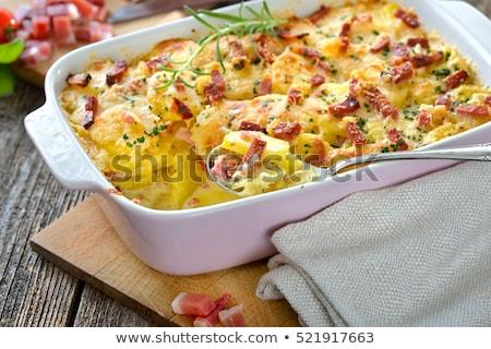 krumpli · krumpli · sajt · mártás · sonka · étel - stock fotó © digifoodstock