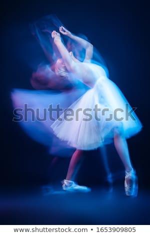 Poz dansçı mavi elbise karanlık uzun Stok fotoğraf © julenochek
