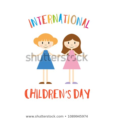 Brunette Girl Greets Happy Childrens Day Vector Stock photo © robuart