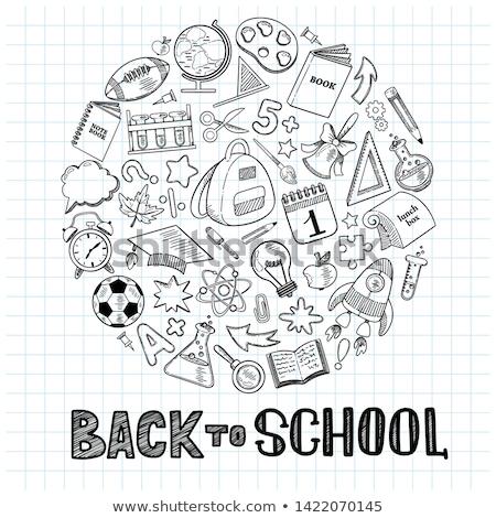 Terug naar school ingesteld iconen lijn stijl onderwijs Stockfoto © lucia_fox
