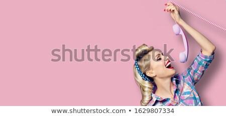naïef · vrouw · bloem · cute · kunstmatig - stockfoto © is2