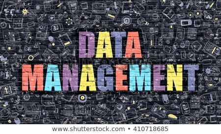multicolor data management on dark brickwall doodle style stock photo © tashatuvango