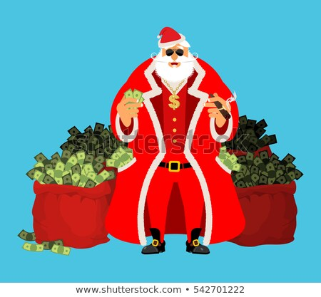 Cool Santa and red bag with money. Claus after work. Pocketful o Stock photo © popaukropa