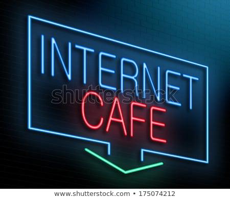 Kafe neon tuğla duvar örnek gece bilgi Stok fotoğraf © stevanovicigor
