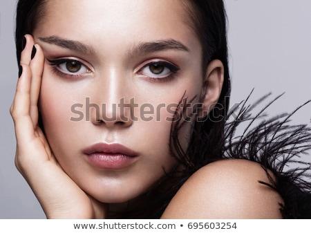 Beautiful girl enfumaçado olhos belo morena mulher jovem Foto stock © svetography